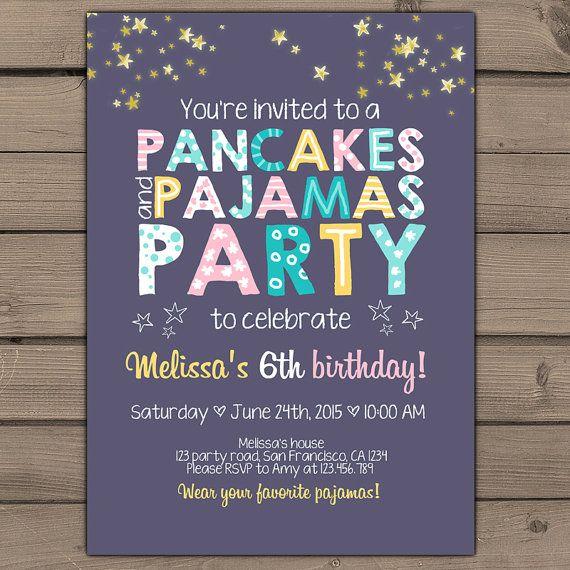 Pancakes and Pajamas Party Invitation Pancakes Pajamas Birthday invite Girl party Purple pink teal yellow photo Digital Printable ANY AGE