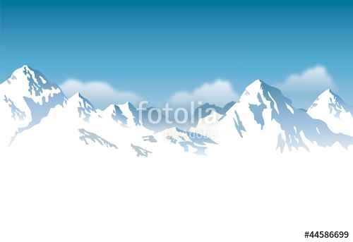 """Download the royalty-free vector """"snowcapped mountains - background"""" designed…"""