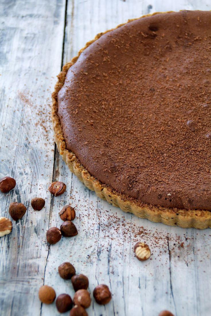 chocolate tart with hazelnuts and salty caramel
