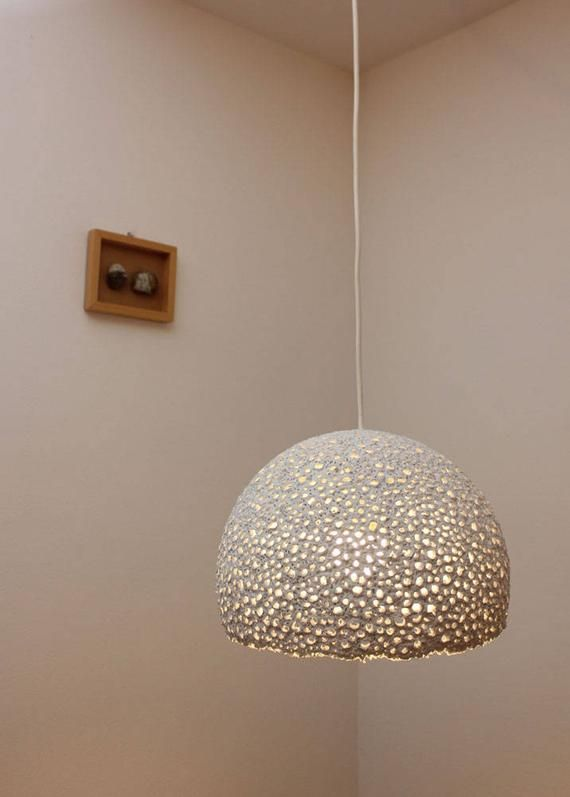 Paper Mache Pendant Light Recycled White Paper Lampshade Paper