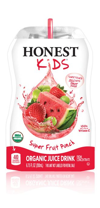 Honest Kids is Honest Tea's line of organic juice drinks. Sweetened only with organic fruit juice, each pouch of Honest Kids contains 100% of the daily value vitamin C while only having ½ the sugar of the leading kids juice drinks, making them great for lunchboxes or snacks for kids and moms on the go. Honest Kids comes in five great-tasting, fun varieties:  Appley Ever After, Berry Berry Good Lemonade, Goodness Grapeness, Super Fruit Punch and Tropical Tango Punch. $3.99 for a carton of 8.