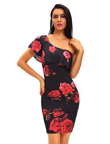 De las mujeres Corte Bodycon Vestido Discoteca Sexy,Floral Un Hombro Hasta la Rodilla Sin Mangas Azul / Rojo Poliéster / Licra Verano 5217154 2016 – $16.99