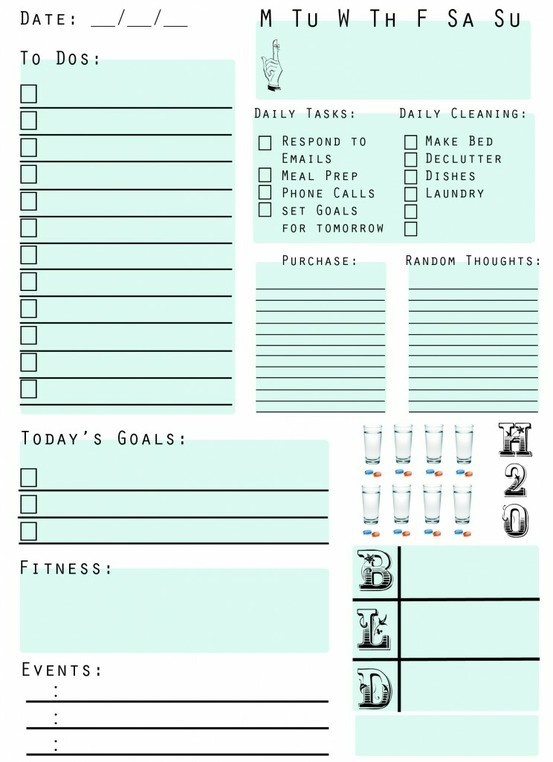 Free Printable daily planner! I now present you with my upgraded & updated Daily Page Two Point Oh! Enjoy! organize-your-life