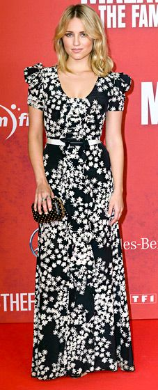 Dianna Agron opted for a floor-length, black and white Carolina Herrera Resort 2014 gown, cinched at the waist with a matching belt for her film premiere, The Family (a.k.a. Malavita), in Berlin.