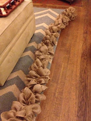 "Burlap Garland- requirements 30yds of burlap the 6"" x 9ft rolls (Joanns $9) a safety pin and string on a roll."