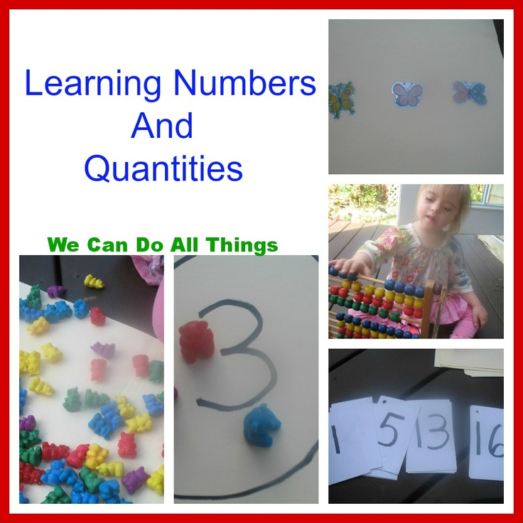 Downs Syndrome  information and ideas for Math as well as hundreds of other creative activities from we can do all things -Learning Numbers and Quantities