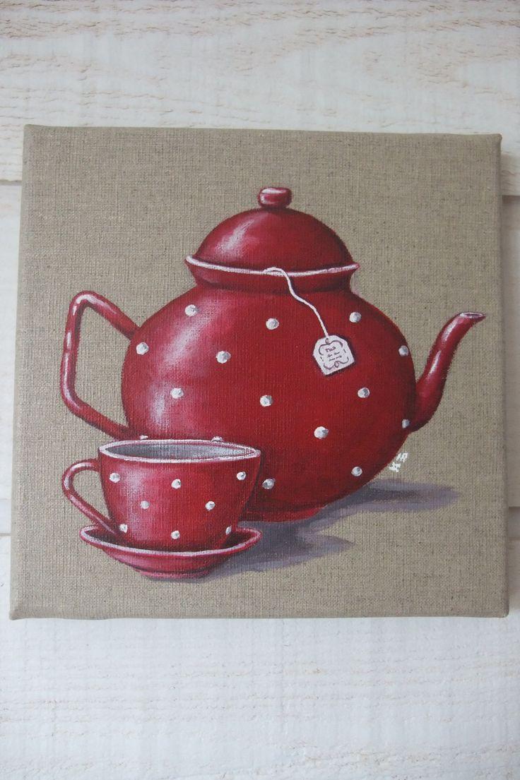Tableau Peinture Théière Rouge à Pois : Peintures par kb-creations
