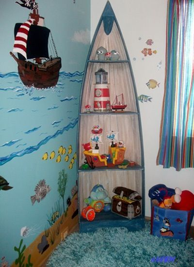 A little DIY accent in the corner would add a perfect touch to an underwater/pirate/sailor room. Could also do in a little girls room full of mermaids.
