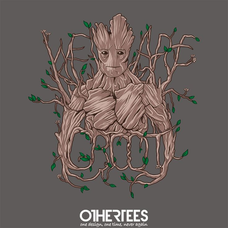 """""""We Are Groot"""" by sugarpoultry on sale until 21st August on othertees.com Pin it for a chance at a FREE TEE! #groot #guardiansofthegalaxy #gotg #marvel #marvelcomics #comics #jamesgunn"""