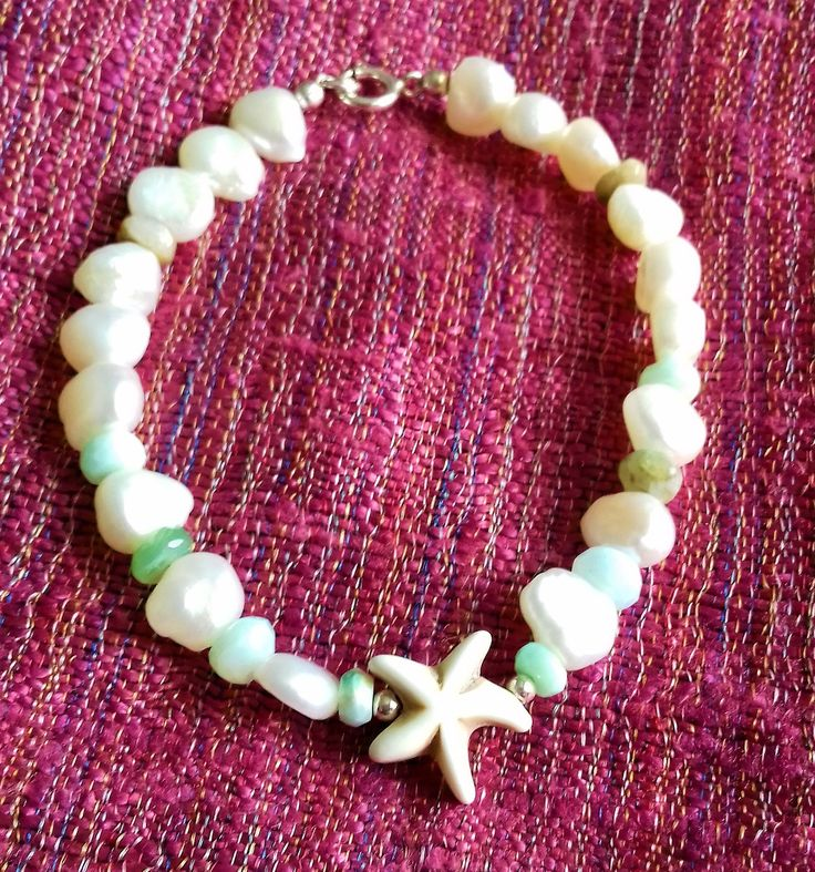 Cultured Freshwater Pearl, Peruvian Opal and Howlite Starfish bracelet with 925 sterling silver clasp