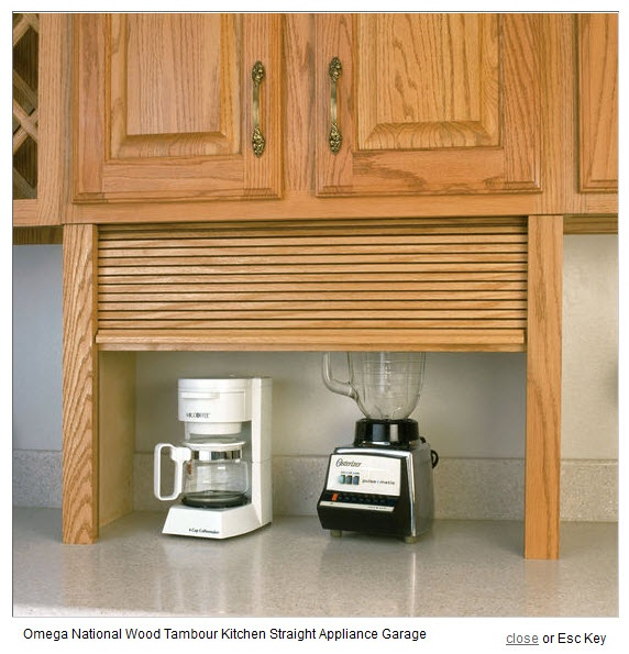 Wood Tambour Kitchen Straight Appliance