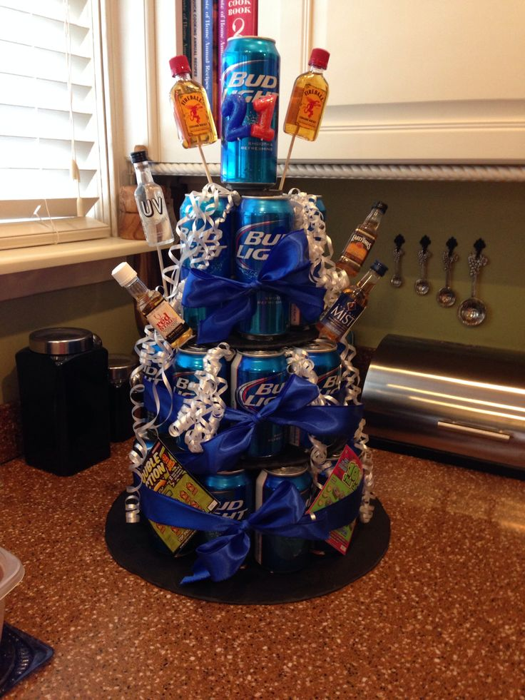 21st birthday ideas for guys! made this for my best friend and he absolutely loved it! beer cake. guys birthday ideas.