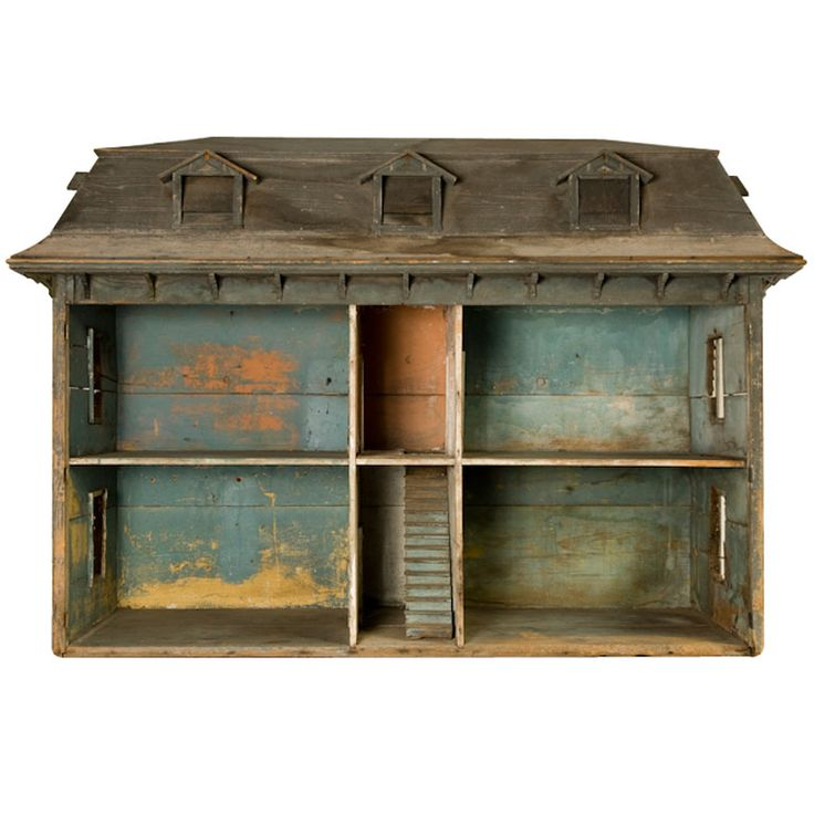 EARLY AMERICAN DOLLHOUSE  United States 1800'S  a massive American dollhouse in it's original condition. owned at one point by a little girl named 'nancy allen'.