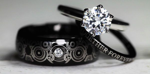 Those Amazing Doctor Who Wedding Ring Sets Have Regenerated And They Look Even Better Wedding Rings Sets His And Hers Geeky Wedding Rings Mens Wedding Rings