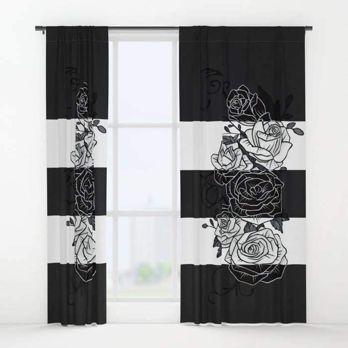 "Inverted Roses Curtains. Your drapes don't have to be so drab. Our awesome Window Curtains transform a neglected essential into an awesome statement piece. They're crafted with 100% lightweight polyester, and thick enough to block out some light. Position the curtain rod into the 4"" pocket and you're good to go. All curtains are a single-sided print and measure 50"" x 84"". #roses #rose #flower #swirls #blackandwhite #striped #stripes #inverted #curtains #homedecor"