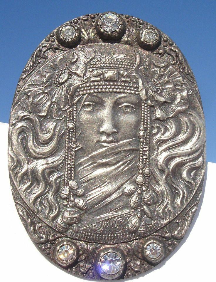 "Scarce ""Nouveau Lady"" Button with Rhinestones (c.1940's) Pewter Vintage Antique Picture Button | eBay"