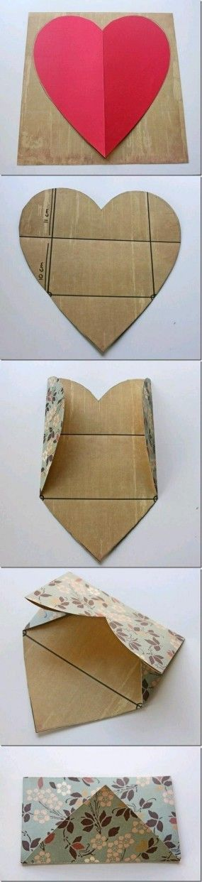 make a heart shaped letter with a built in envelope