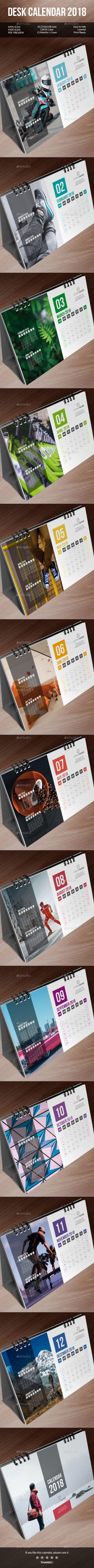 Desk Calendar 2018 Template InDesign INDD