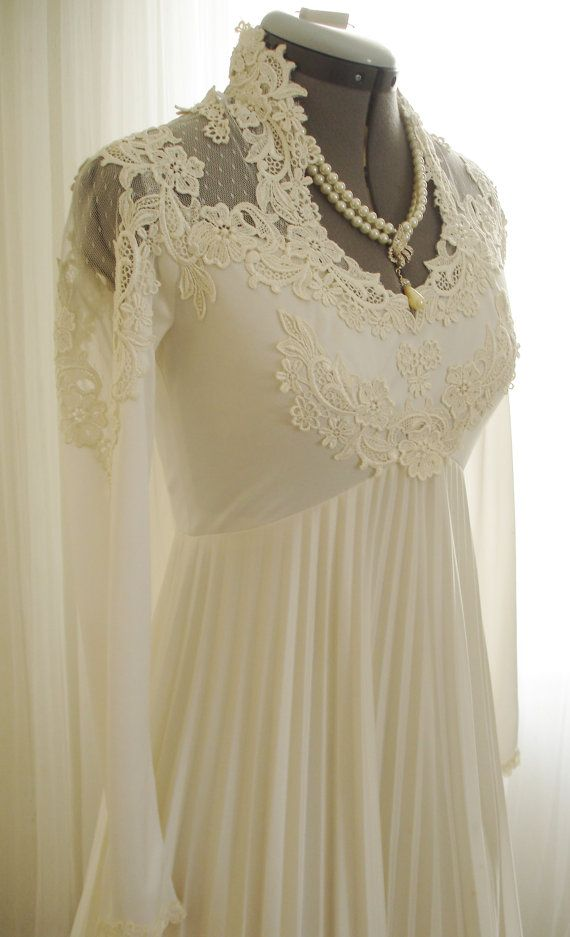 Lace IGLU Vintage 70's Wedding Dress with Pleated by TheTealDoor, $285.00