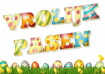 Vrolijke paaskaart met gekleurde eieren, gras, kuikentjes en kleurige letters.   Zie meer mooie paaskaarten in mijn Vrolijk Pasen collectie