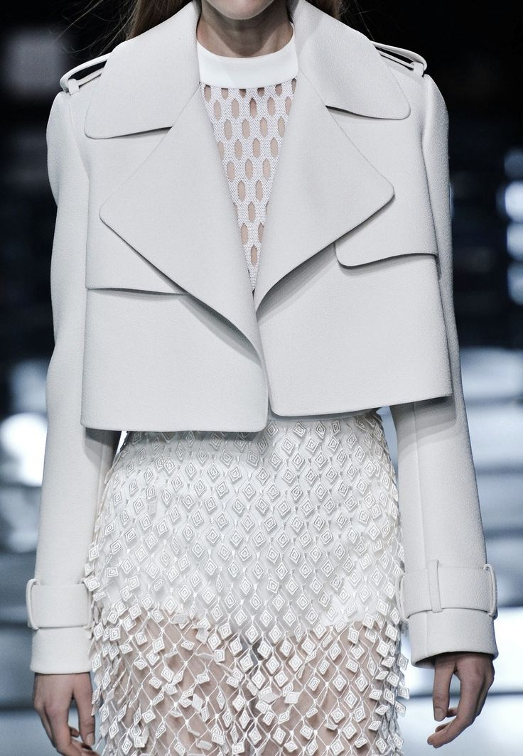 Cropped white jacket + textured sheer skirt; layered white fashion details // Balenciaga SS15