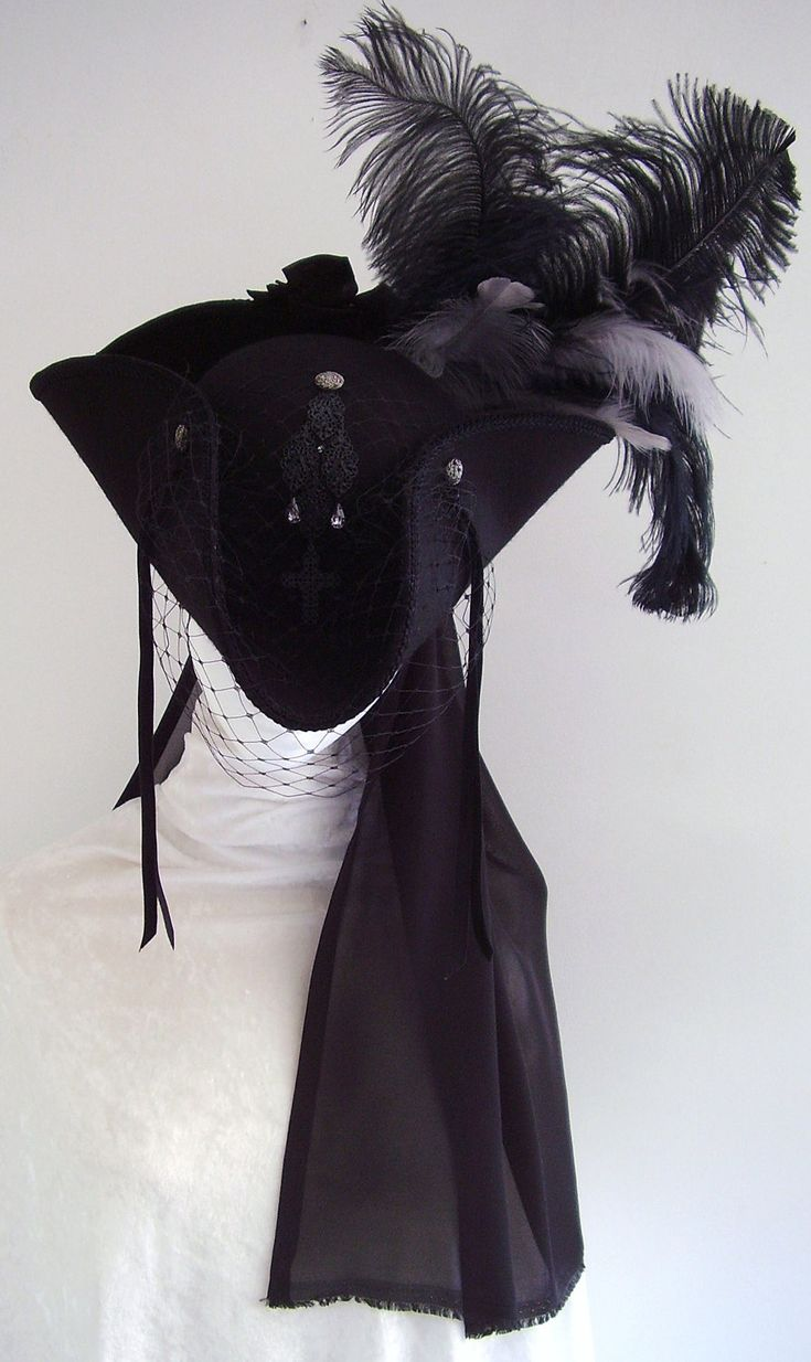 Black Tricorn Riding hat with embroidery...lovely