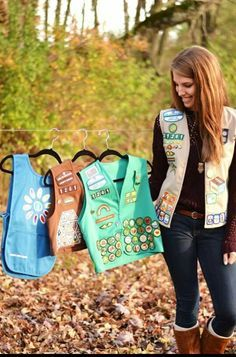 Girl Scout Senior picture idea -- Love this! Now I need to find where I packed those vests away at!