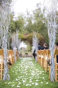 Silver Branches-wedding Decor-diy $165.  These then lights down tha aisle way