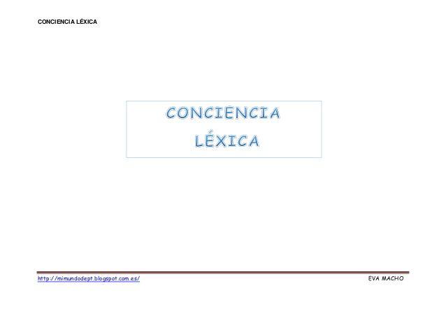 Conciencia lexica by Eva Macho via slideshare