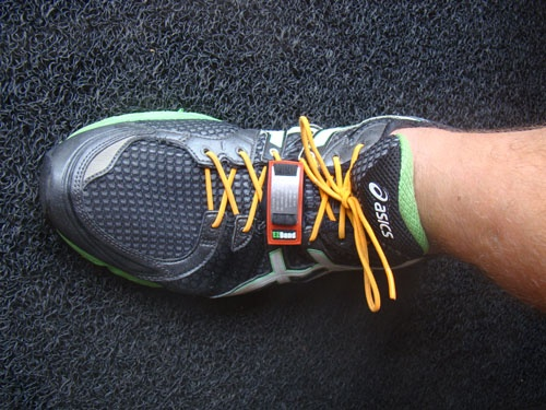 EZBand Sports ID Standard Model laced up on Asics running shoe.
