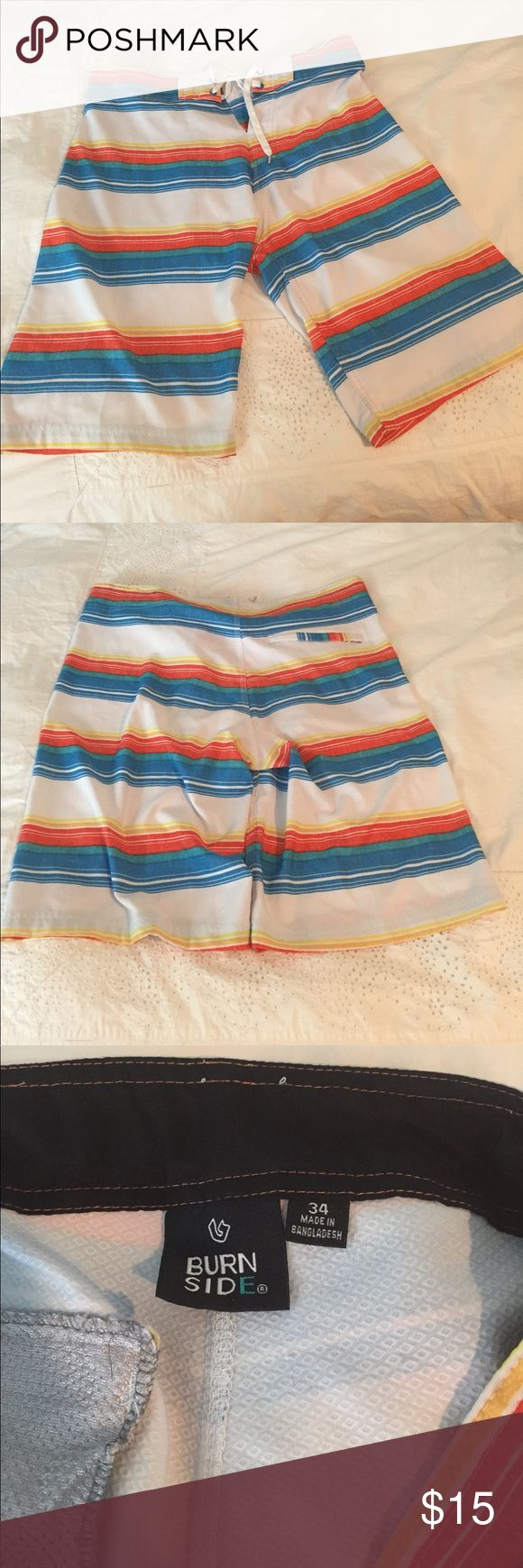 Burn Side Men's Bathing Suit. Board Shorts. 34. Men's Board Short Bathing Suit. Size 34. Burn Side is the brand. No mesh in the suit but it does have a back pocket. Worn a handful of times. Swim Board Shorts