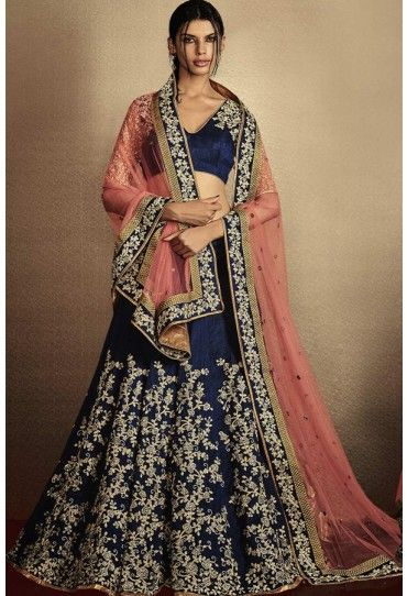 Navy Blue & Peach Heavy Net Bhagalpuri Silk Designer Lehenga Choli