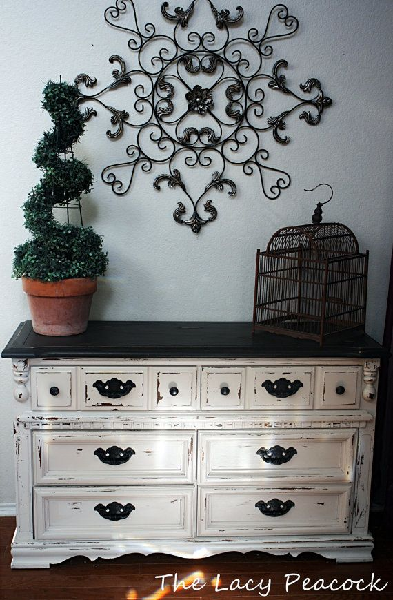 Black And Cream Vintage Dresser/ Buffet/ Tv Stand/ Entry Table