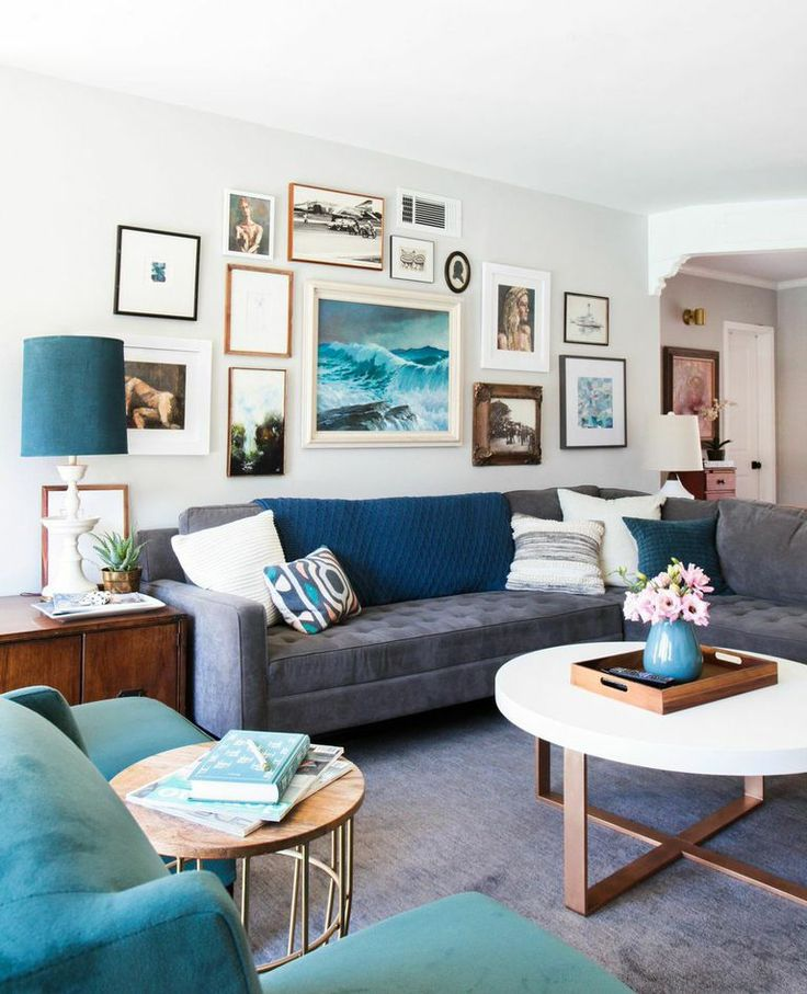Style by Emily Henderson Weekend Makeover Mid century Eclectic Artist Living Room GrayEclectic