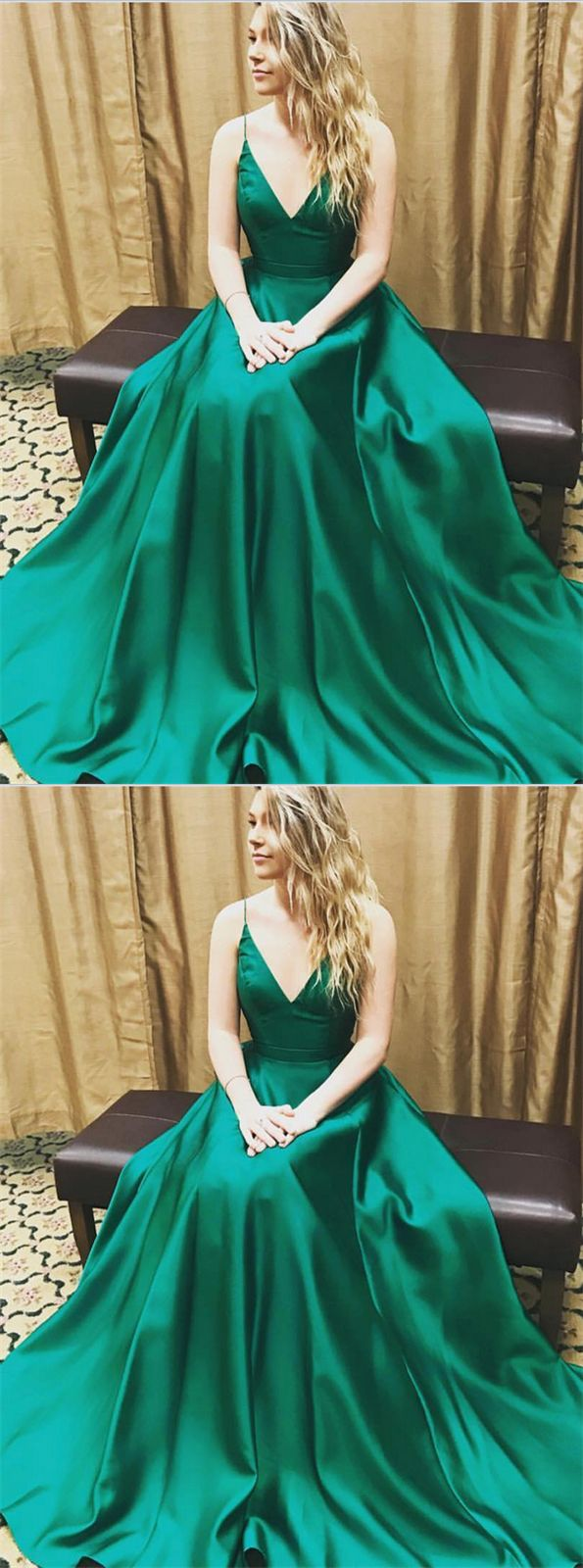Green PromD resses,V-neck,Spaghetti,Long,Elegant,Simple,Cheap,A-line,Charming,Handmade,Prom Dresses,Prom Dress,Prom Gowns,Evenign Dresses,Evening Gowns,Party Dresses,Women Dresses,Prom Dresses For Teens
