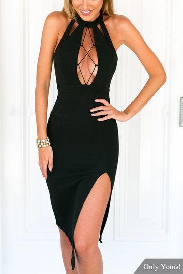 Sexy Open Back Splited Hem Midi Dress