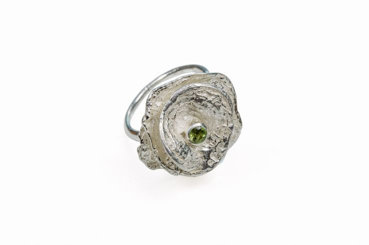 Sterling Blossom Faceted Peridot Ring