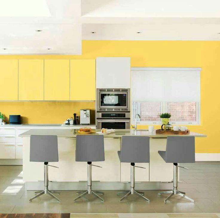 Blue Grey Yellow Kitchen