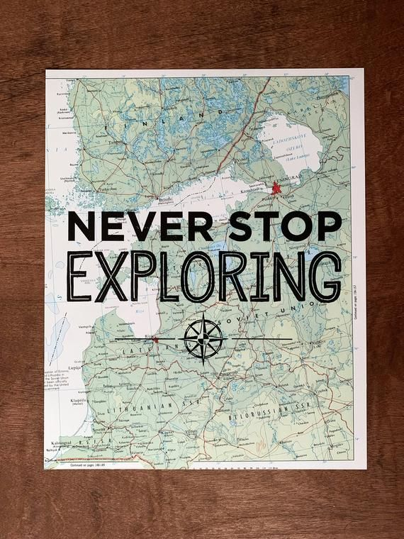 Finland Map Print, Never Stop Exploring, Great Travel Gift, 8″ x 10″ Letterpress Print
