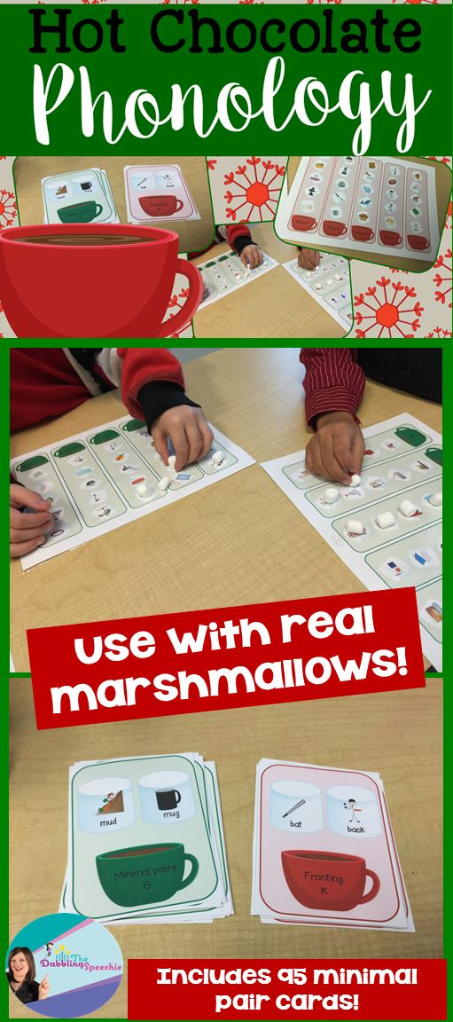 hot chocolate phonology to work on phonology with marshmallows in speech therapy!