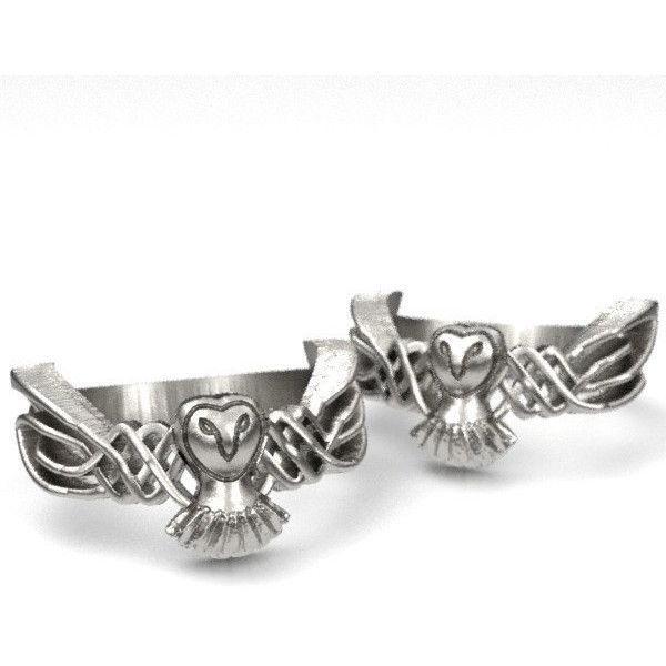 Celtic Owl Ring Set, 925 Sterling Silver Owl Ring, Barn Owl Jewelry,... ($175) ❤ liked on Polyvore featuring jewelry, rings, wedding jewellery, set rings, sterling silver wedding rings, wedding set ring and wedding jewelry