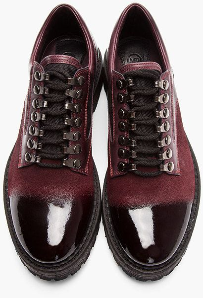 Mcq By Alexander Mcqueen Oxblood Brushed Suede Polished Toe Shoes in Red for Men (oxblood) - Lyst