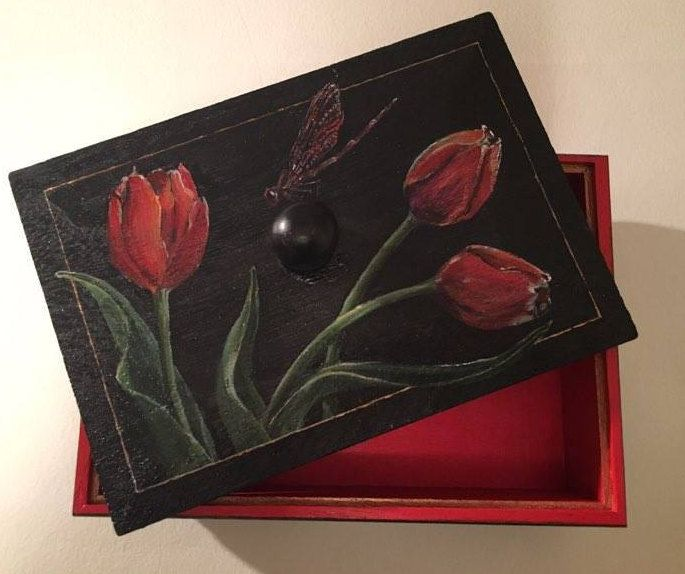 Decorative Wooden Box with Handpainted Tulips and Dragonflies by PaintWorkStudios on Etsy