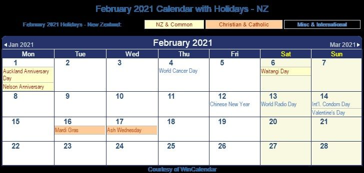 2021 Calendar February March New Zealand In 2020 2021 Calendar Free Printable Calendar Monthly Calendar