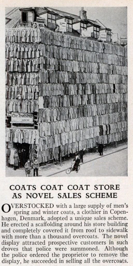 Coats Coat Coat Store covered in coats for novel sales scheme. denmark