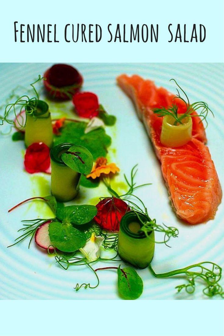 Fennel cured Salmon salad