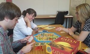 Playing Catan at Basingstoke Discovery Centre.