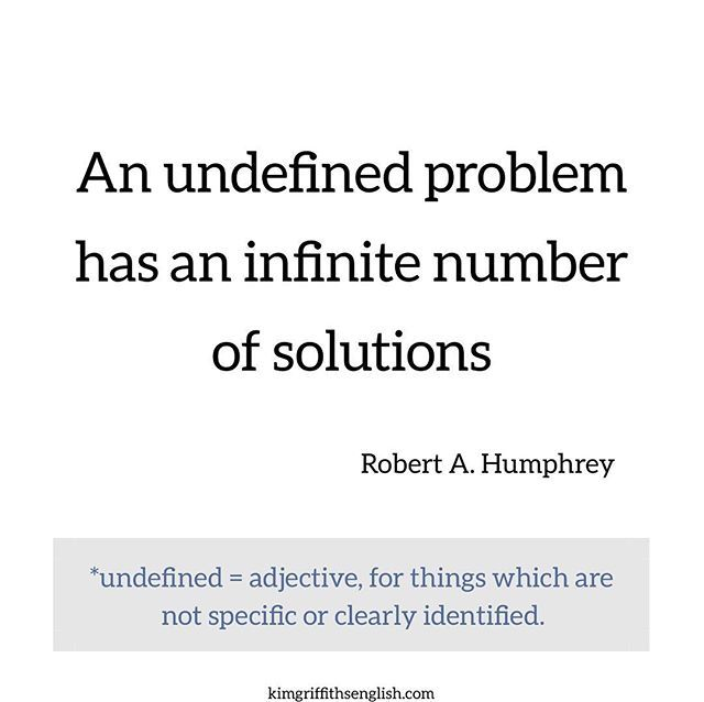 A good #mondaymotivation quote from Robert A. Humphrey. It makes me think that if I have a problem I need to really identify what it is before I can try to solve it. . . . . . . . . . . . . . . . . . #vocabulary #ohwowyes #mondaymotivation #positivevibes #hallazgodelasemana #idiomas #languages #englishteacher #eslenglish #eslteacher #englishblogger #stylemepretty #wisdom #teacher #ingles #inglesonline #inglese #aprenderingles #aprendaingles #inglesgratis #engleski #anglaise #faleingles ...