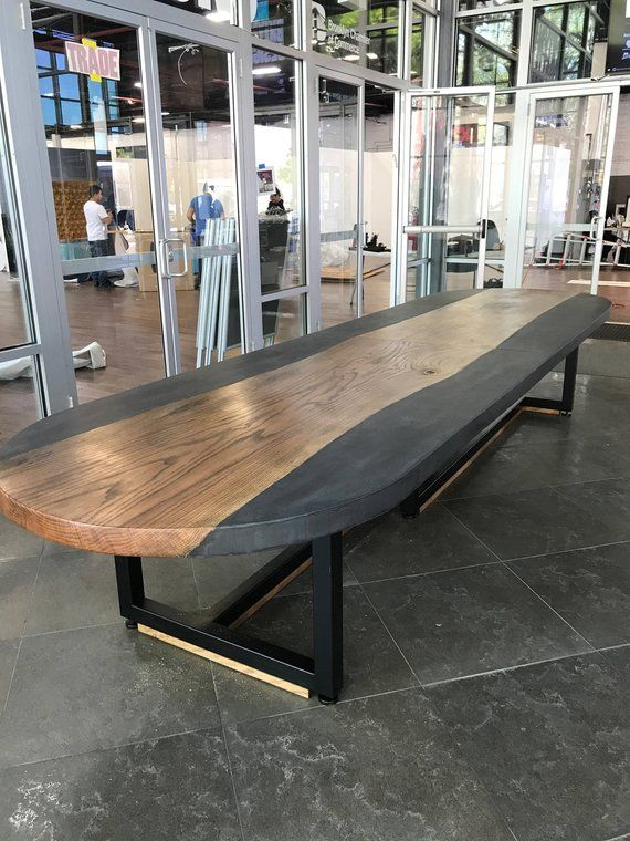 Astonishing Oval Conference Concrete And Wood Slab Table New House Home Interior And Landscaping Fragforummapetitesourisinfo