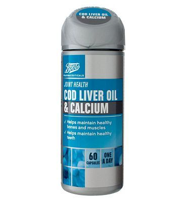 #Boots Pharmaceuticals Boots COD LIVER OIL  CALCIUM 60 capsules #20 Advantage card points. Boots Cod Liver Oil, Fish Oil, Calcium and Multivitamins Food Supplement 60 capsules FREE Delivery on orders over 45 GBP. (Barcode EAN=5045097866493)